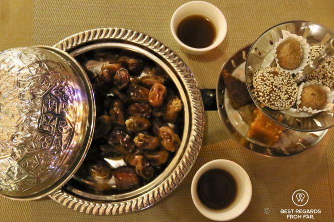 Omani coffee and dates at Bait al Luban, Muscat, Oman