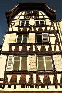 Typical half-timbered house with wood carvings, Strasbourg, France