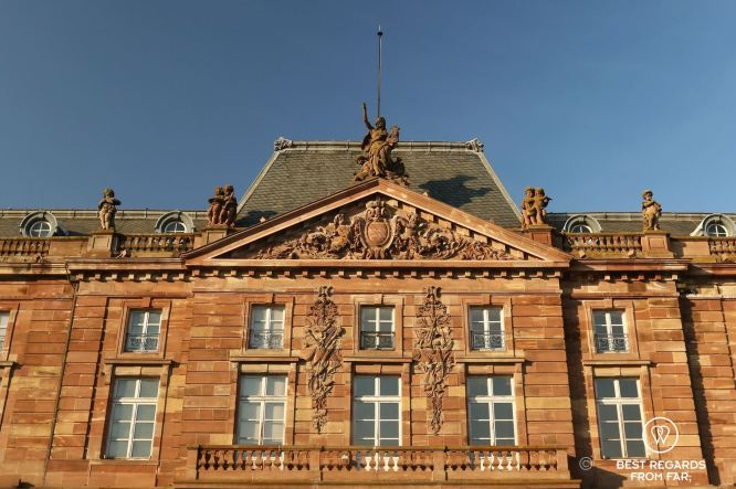 Close-up of the building in which the French National Anthem was written, Place Kléber, Strasbourg, France