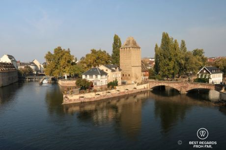 Architecture of the covered bridges, or Ponts couverts, built by the French, Strasbourg, France