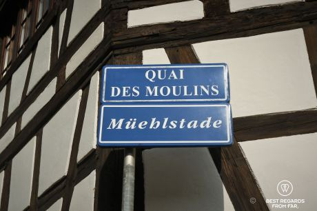 Street sign with bilingual street names in Strasbourg, France