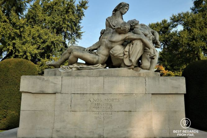 War memorial (the mother with her two sons who died on the German and French sides symbolizing respect for both nations), Jardin de la Place de la République, Strasbourg, France