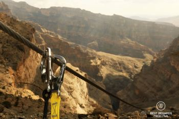 The via ferrata in Jebel Shams, Oman