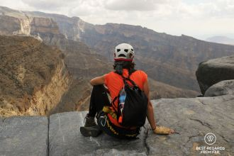 Contemplating the view on Jebel Shams, Oman