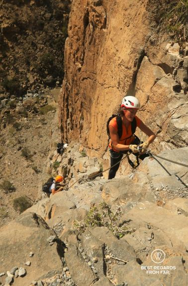 Marcella on the via ferrata in Jebel Shams, Oman