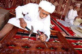 Wood carving in the Nizwa Fort, Oman