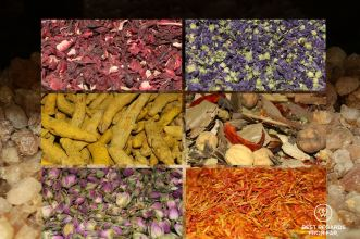 Frankincense, rose buds, saffron, curcuma, lavender, hibiscus and a mix of spices at the Nizwa souq, Oman