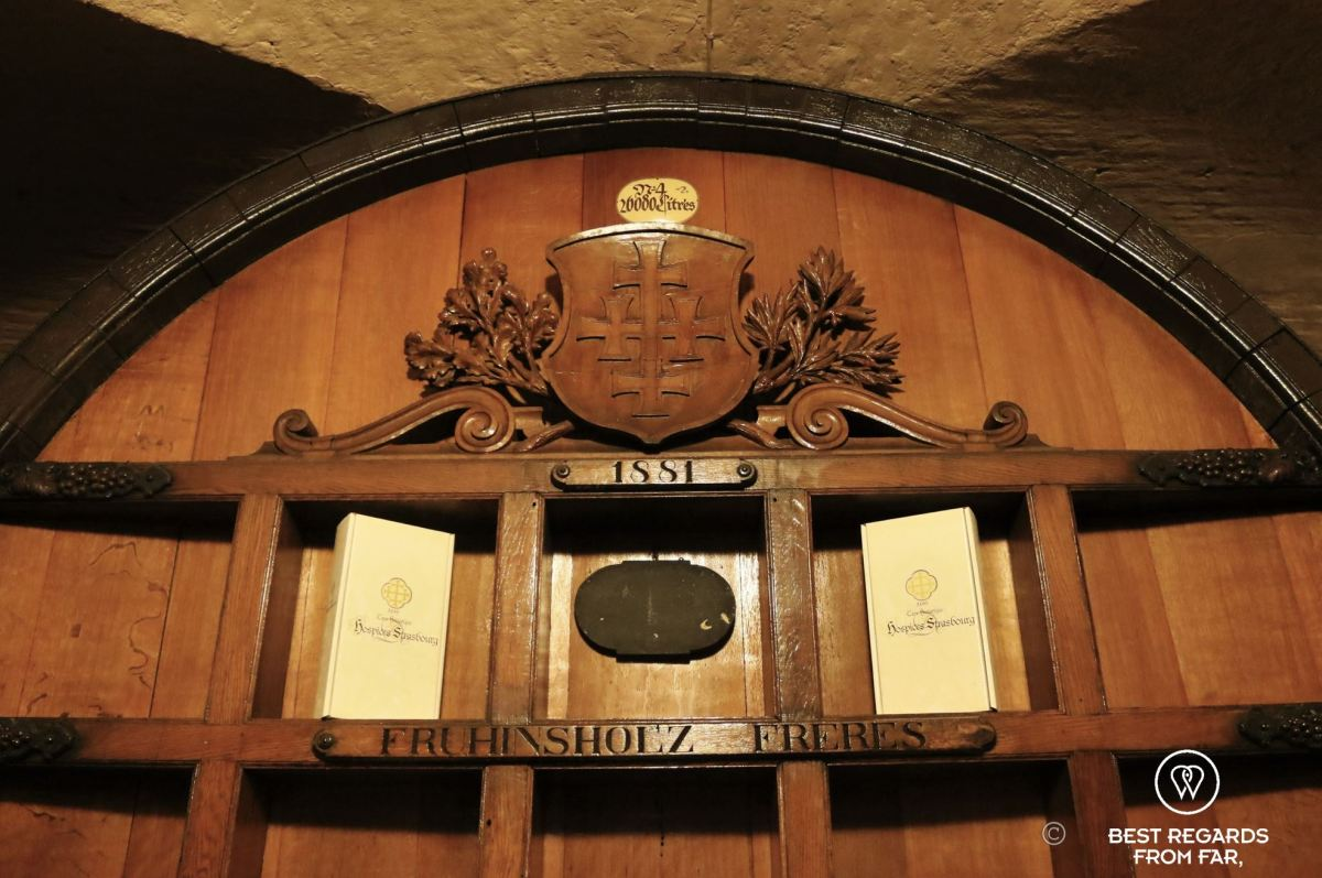 The wine barrel that travelled to the Universal Exhibit in Paris in 1900 at the Cave Historique des Hospices de Strasbourg, France