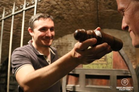 Smelling the oldest white wine in the world, Strasbourg, France