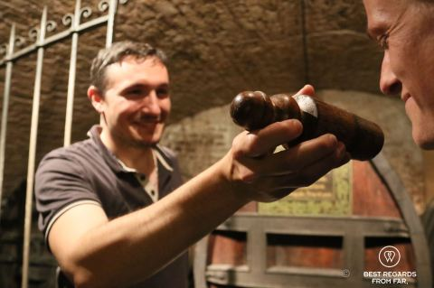 Smelling the oldest white wine in the world in Strasbourg, France