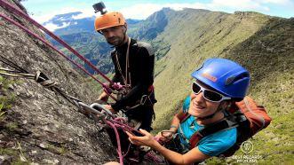 Hanging in there rock climbing the Maïdo Peak, Reunion Island