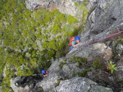Rock climbing the Maïdo Peak, Reunion Island