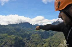 Our guide Olivier showing us the Cirque of Mafate from the summit of the Maïdo Peak, Reunion Island