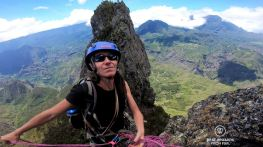 Securing on the way back up after climbing the Maïdo Peak (in the background), Reunion Island