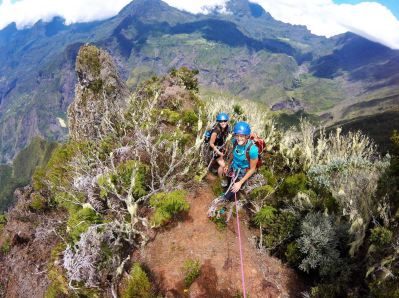 Happy after having conquered the Maïdo Peak, Reunion Island