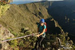 Abseiling down to the foot of the Maïdo Peak, Reunion Island