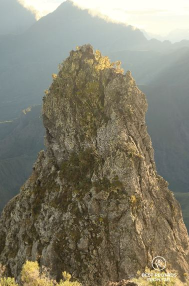 Close-up of the Maïdo Peak, a challenging rock climb, Reunion Island