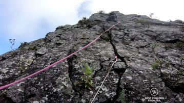 Our guide Olivier leading the way climbing up the Maïdo Peak, Reunion Island