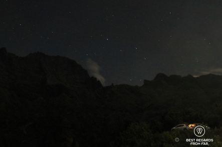The ridge line at night, 3 Salazes, Réunion