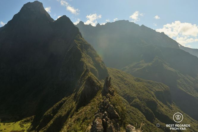 Looking down on the 3 Salazes from the Dragon ridge line, Réunion