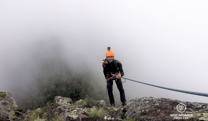 The final abseil into the clouds, 3 Salazes, Intégral, Réunion