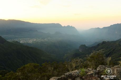 Morning view on Cilaos from the 3 Salazes, Réunion