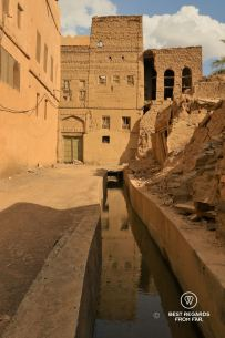 The falaj going through the old Al Hamra village, Oman
