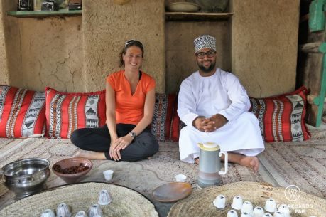 Sharing coffee and dates at Bait al Safah, Al Hamra, Oman