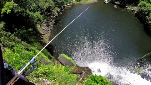 About to zipline, canyoning the Reunion Island