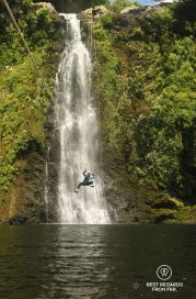 Marcella ziplining the epic 35-metre waterfall in the Sainte Suzanne Canyon, the Reunion Island