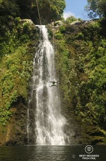 The epic 35 meter abseil/zipline of the Sainte Suzanne Canyon, the Reunion Island