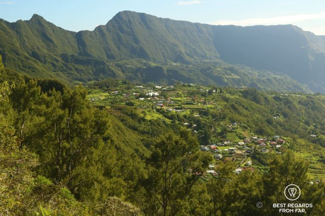 Aerial view on Le Belier in the Salazie amphitheater on the exclusive multiday hike through the 3 cirques, Réunion Island.
