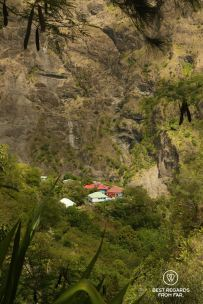 Aerial view on Ilet à Bourse in Mafate on the exclusive multiday hike through the 3 cirques, Réunion.