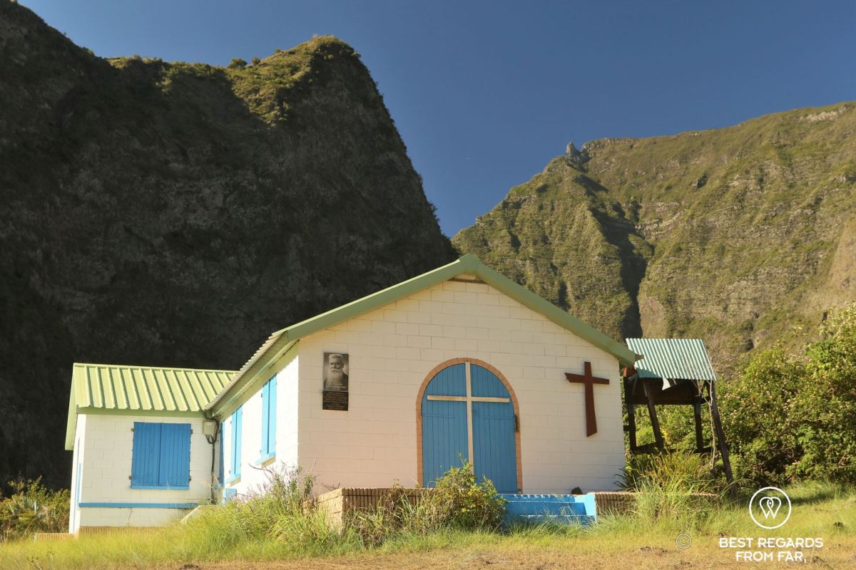 The church of Ilet des Orangers in Mafate amphitheater among the mountains of Réunion Island during an exclusive multiday hike through the 3 cirques.