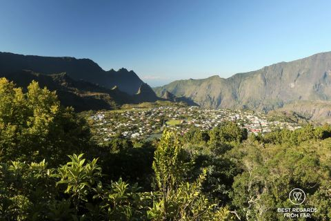 View on the city of Cilaos on the exclusive multiday hike through the 3 cirques, Reunion Island.