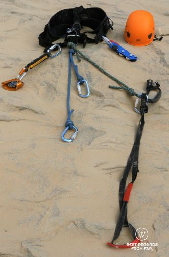 Technical caving and roping gear.