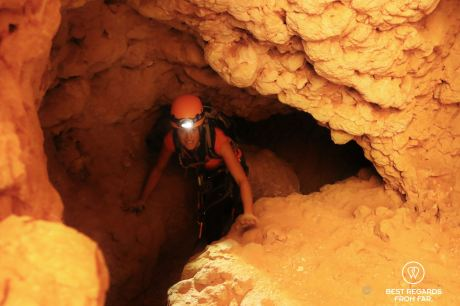 Making our way through the cave, Seventh Hole, Oman
