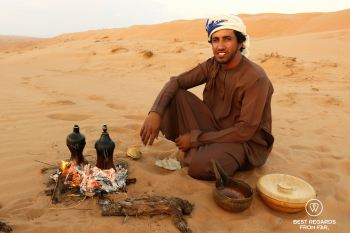Coffee in the desert for sunset, Oman