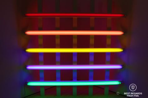 Dan Flavin's famos light art, SFMOMA, San Francisco, California, USA