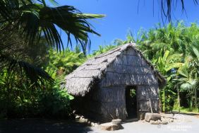 Traditional house made of palm leafs, Reunion Island, France