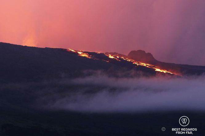 Eruption of the Piton de la Fournaise volcano, Reunion Island, France