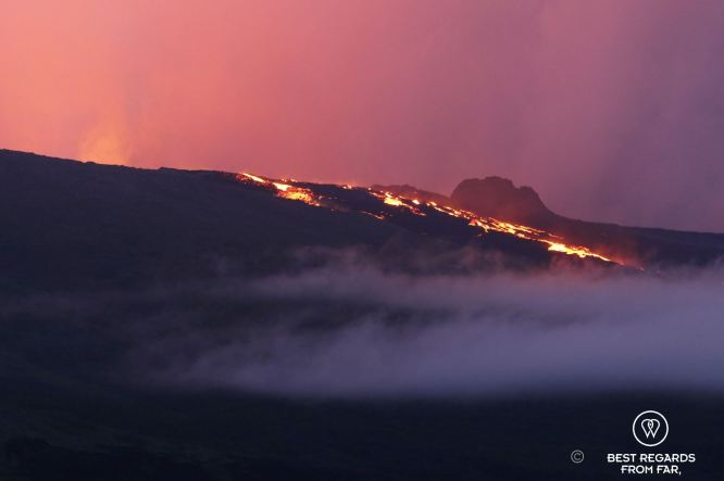 Eruption of the Piton de la Fournaise volcano, Reunion Island, France
