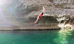 Claire diving, Wadi Shab, Oman
