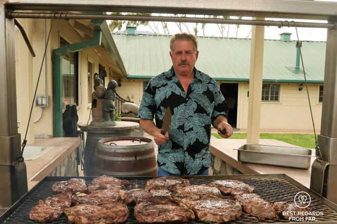 Grape Grower Bobby Franscioni grilling the meat to perfection, Behind the Scenes Wine Tours, California, USA