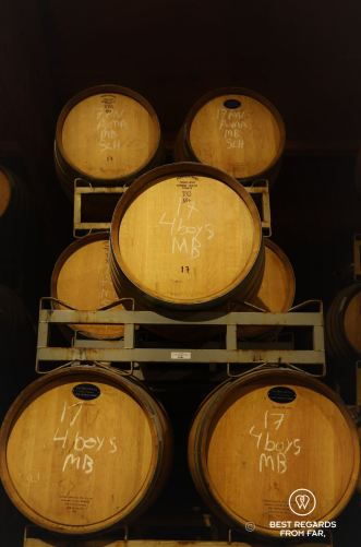 The French oak wine barrels of Puma Road, Behind the Scenes Wine Tours, California, USA