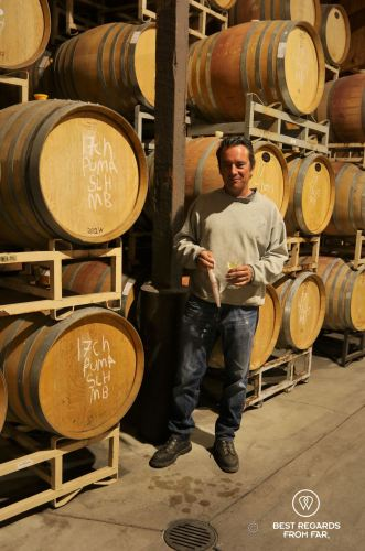 Barrel tasting with the winemaker Olivier, Behind the Scenes Wine Tours, California, USA