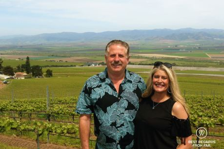 Husband and wife: Bobby and Dena Franscioni from Behind the Scenes Wine Tours and passionate grape growers, Santa Lucia Highlands, California, USA