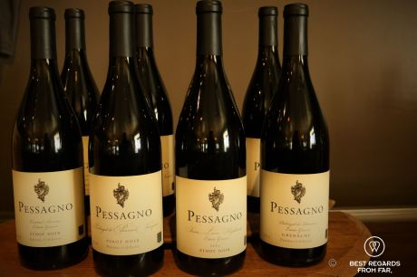 The excellent Pinot Noir by Pessagno, Behind the Scenes Wine Tours, California, USA