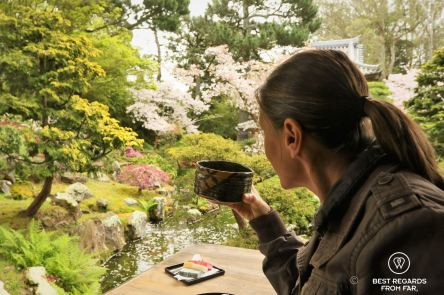 Savoring a green matcha at the Japanese Tea Garden, San Francisco, California, USA