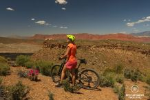 View along the Sidewinder trail, mountain biking, Santa Clara River Reserve, Saint George, Utah, USA